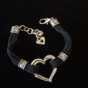 Brighton Heritage Black cords and heart bracelet